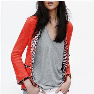 Zara red orange zebra Boucle blazer jacket